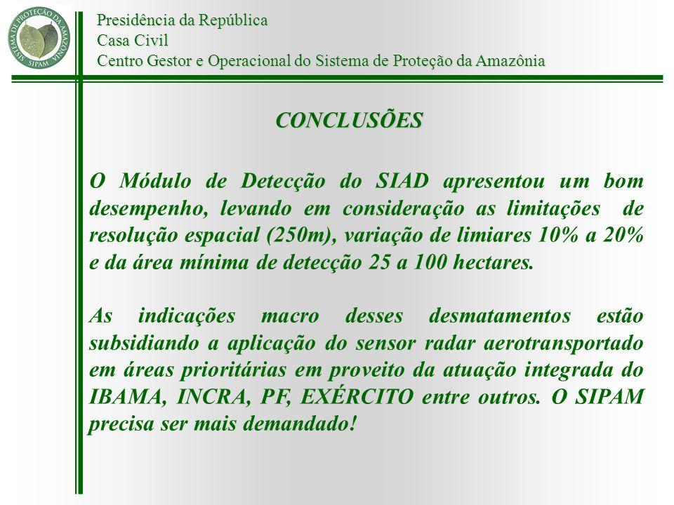 Presidência da República Casa Civil Centro Gestor e Operacional do Sistema de Proteção da Amazônia CONCLUSÕES O Módulo de Detecção do SIAD apresentou