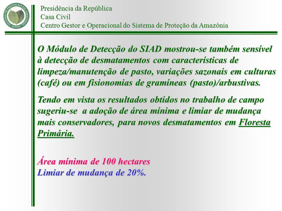 Presidência da República Casa Civil Centro Gestor e Operacional do Sistema de Proteção da Amazônia O Módulo de Detecção do SIAD mostrou-se também sens