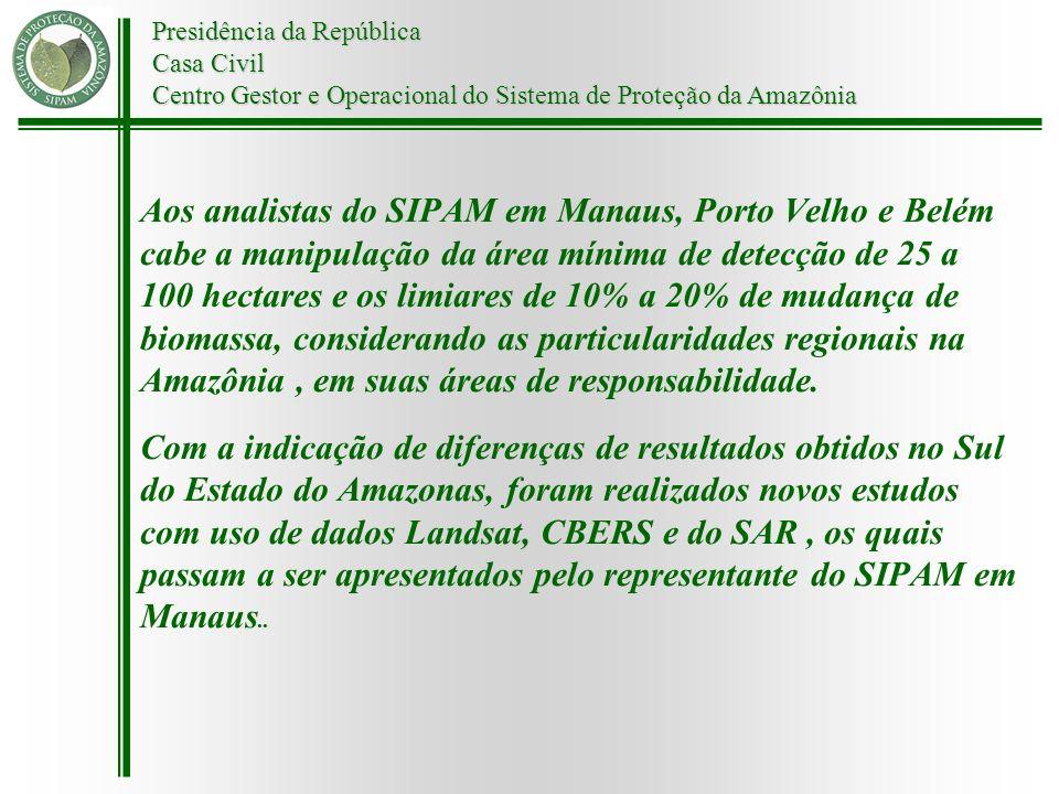 Presidência da República Casa Civil Centro Gestor e Operacional do Sistema de Proteção da Amazônia Aos analistas do SIPAM em Manaus, Porto Velho e Bel