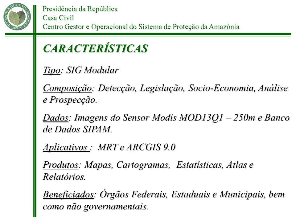 Presidência da República Casa Civil Centro Gestor e Operacional do Sistema de Proteção da Amazônia Tipo: SIG Modular Composição: Detecção, Legislação,