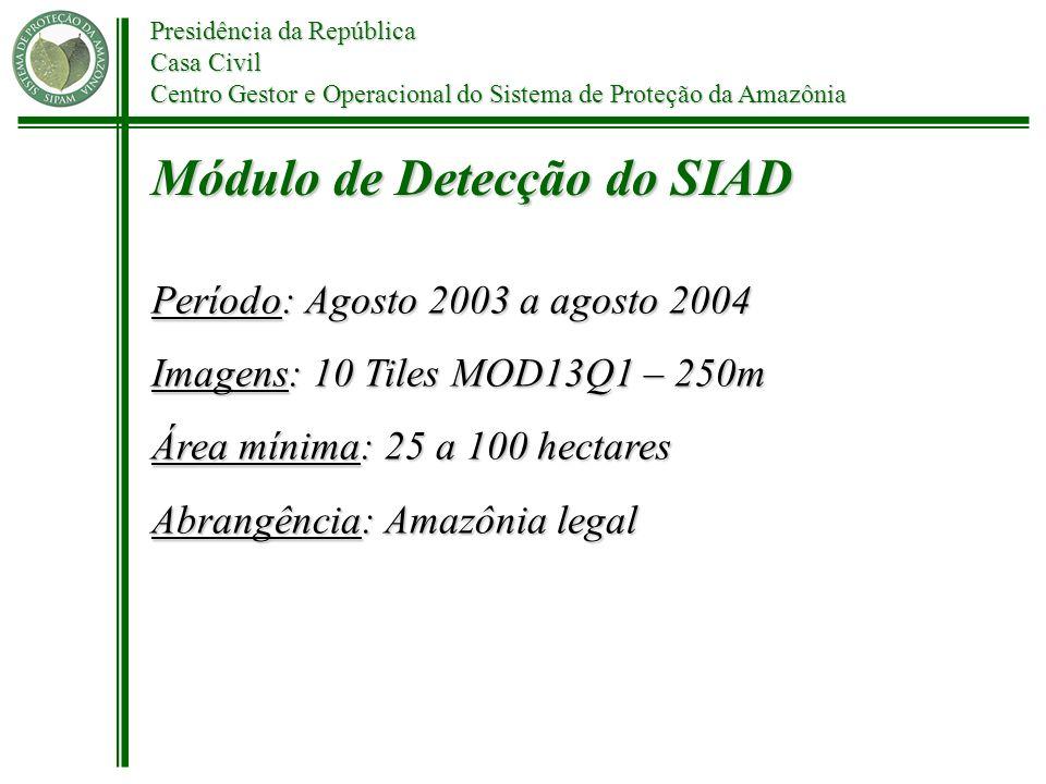 Presidência da República Casa Civil Centro Gestor e Operacional do Sistema de Proteção da Amazônia Período: Agosto 2003 a agosto 2004 Imagens: 10 Tile
