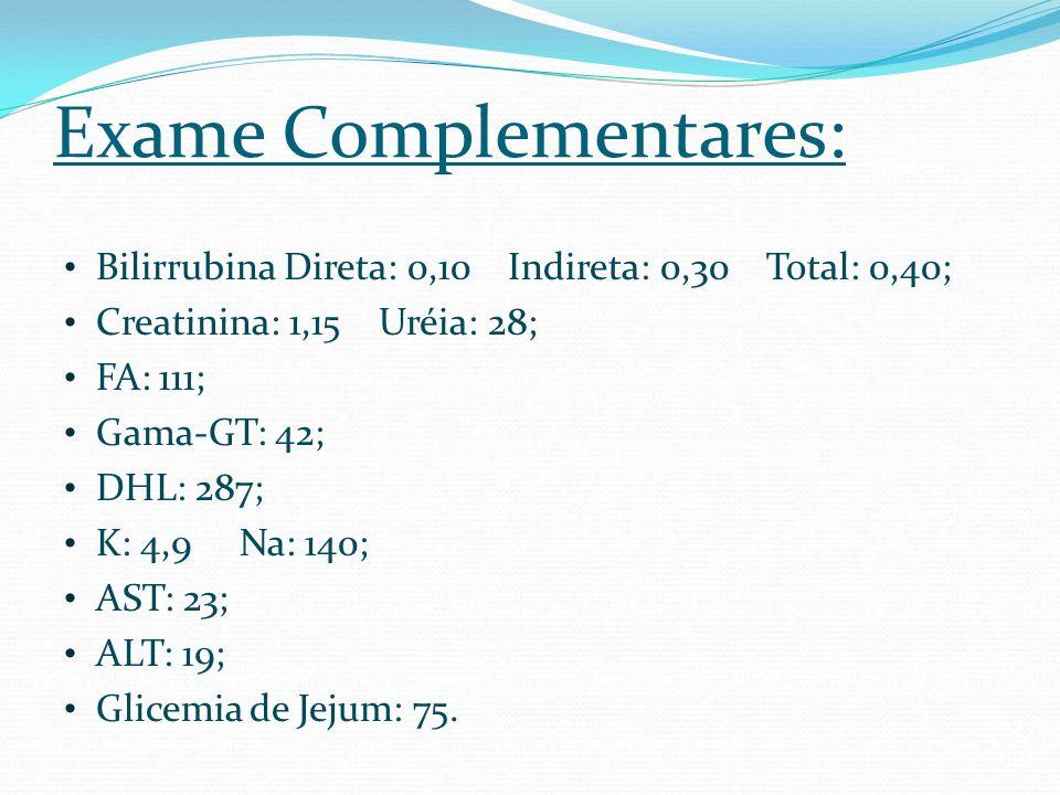 Exame Complementares: Bilirrubina Direta: 0,10 Indireta: 0,30 Total: 0,40; Creatinina: 1,15 Uréia: 28; FA: 111; Gama-GT: 42; DHL: 287; K: 4,9 Na: 140;