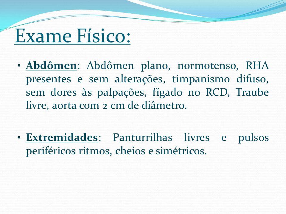 Exame Físico: Abdômen: Abdômen plano, normotenso, RHA presentes e sem alterações, timpanismo difuso, sem dores às palpações, fígado no RCD, Traube liv