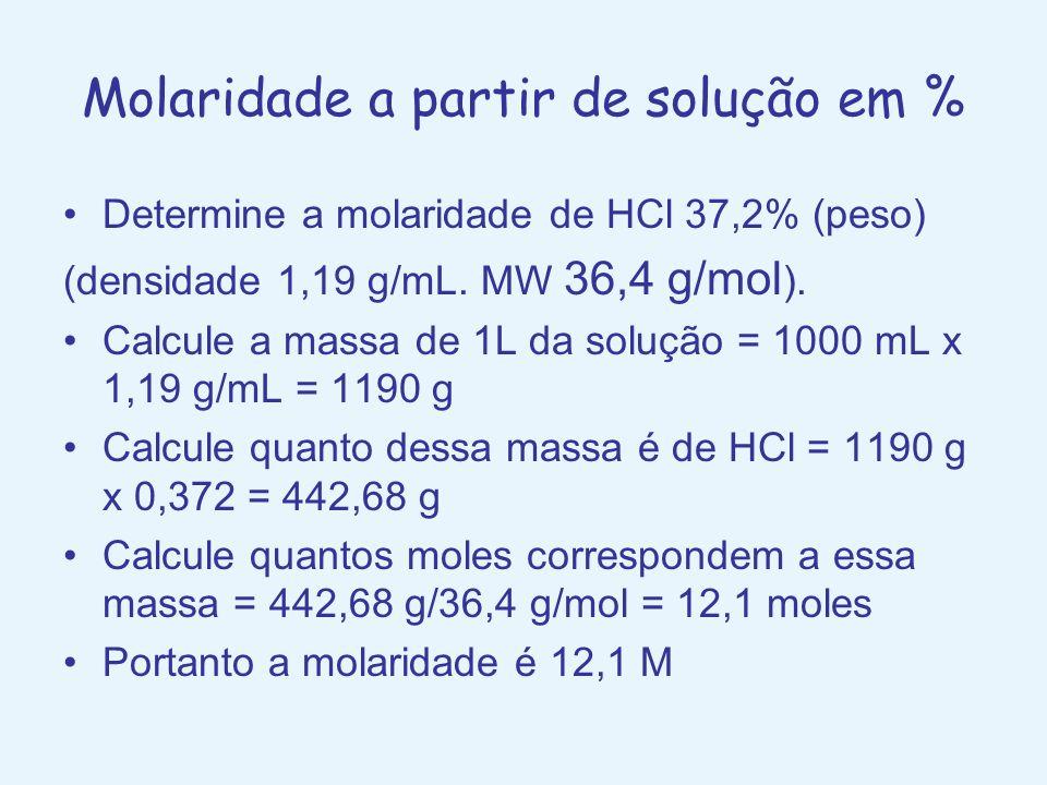 Molaridade a partir de solução em % Determine a molaridade de HCl 37,2% (peso) (densidade 1,19 g/mL. MW 36,4 g/mol ). Calcule a massa de 1L da solução