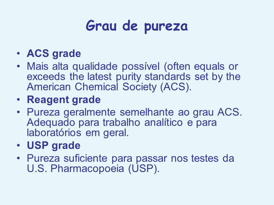 Grau de pureza ACS grade Mais alta qualidade possível (often equals or exceeds the latest purity standards set by the American Chemical Society (ACS).