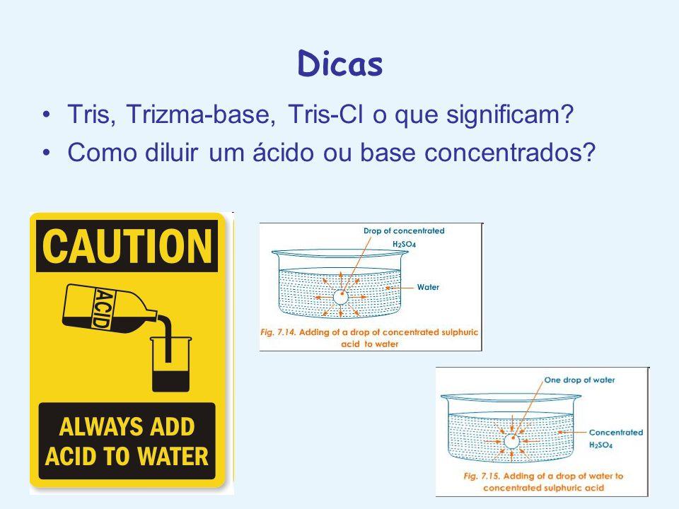 Dicas Tris, Trizma-base, Tris-Cl o que significam? Como diluir um ácido ou base concentrados?