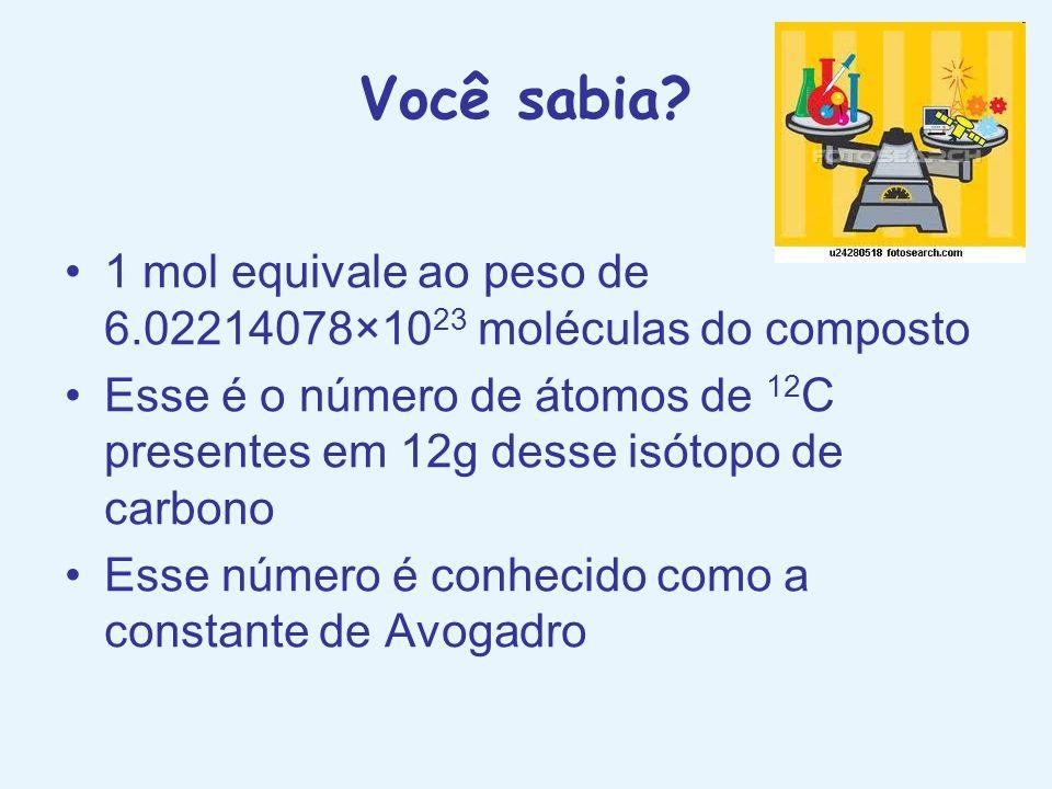 Você sabia? 1 mol equivale ao peso de 6.02214078×10 23 moléculas do composto Esse é o número de átomos de 12 C presentes em 12g desse isótopo de carbo