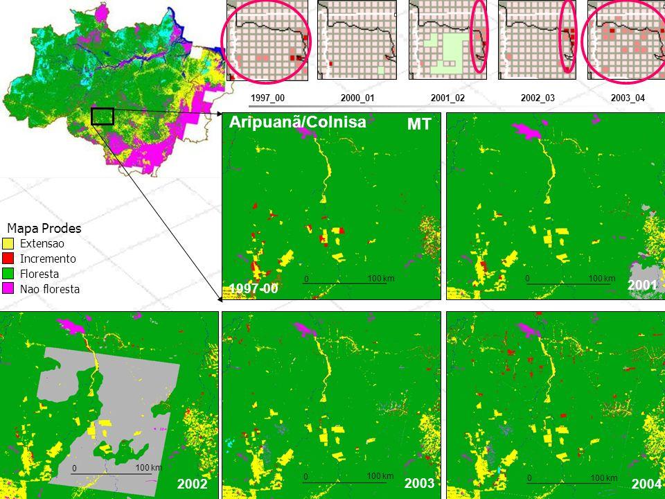 1997-00 2001 2002 2003 2004 Aripuanã/Colnisa 0 100 km 0 0 0 0 MT 2000_012001_022003_042002_031997_00 Extensao Incremento Floresta Nao floresta Mapa Pr