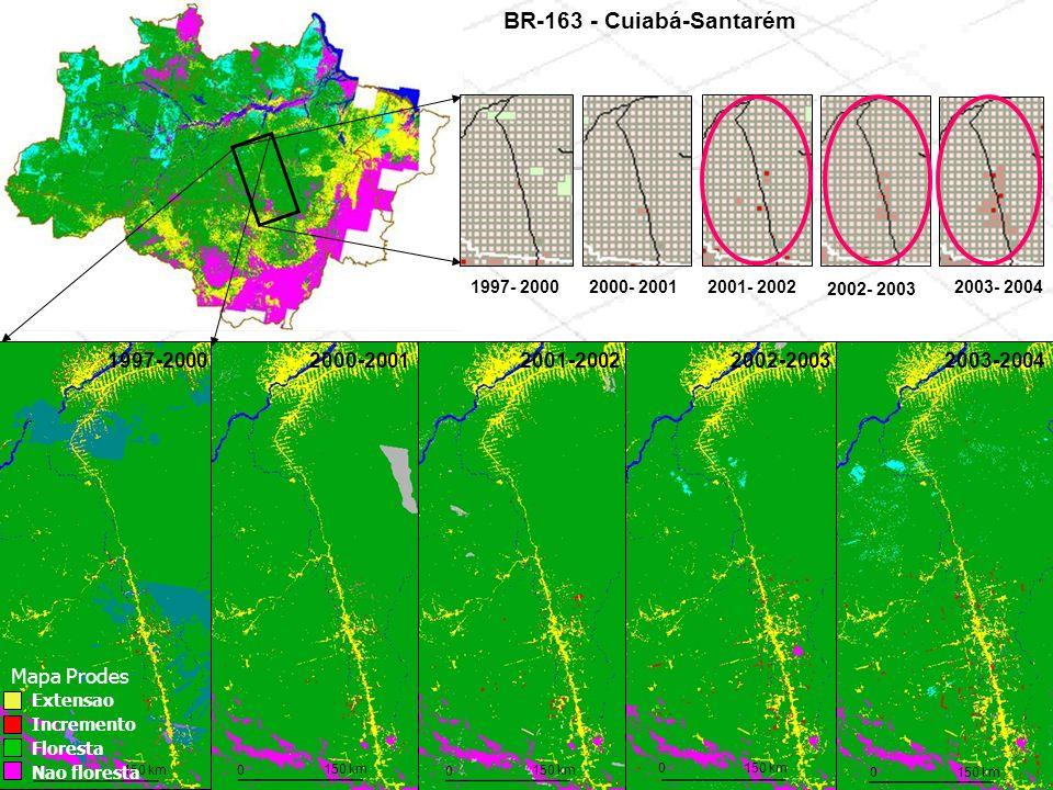 1997-20002000-20012001-20022002-20032003-2004 BR-163 - Cuiabá-Santarém 0 150 km 0 0 0 0 1997- 20002000- 20012001- 20022003- 2004 2002- 2003 Extensao I