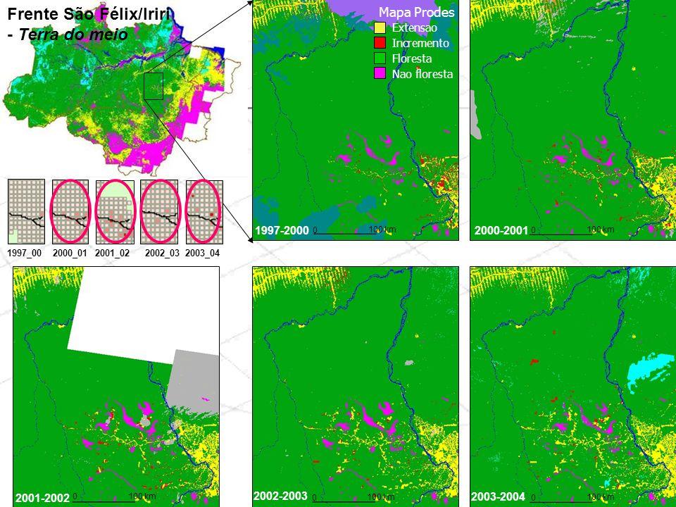 Frente São Félix/Iriri - Terra do meio 1997-20002000-2001 2001-2002 2002-2003 2003-2004 0 100 km 0 0 0 0 1997_002000_012001_022003_042002_03 Extensao