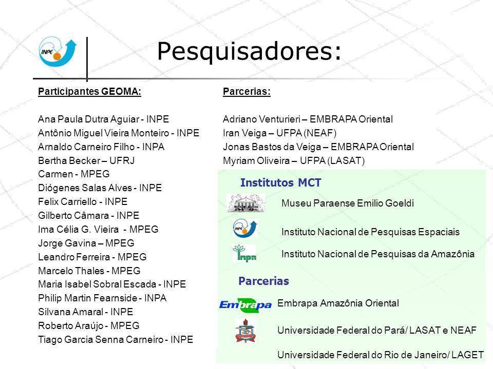 Pesquisadores: Participantes GEOMA: Ana Paula Dutra Aguiar - INPE Antônio Miguel Vieira Monteiro - INPE Arnaldo Carneiro Filho - INPA Bertha Becker –