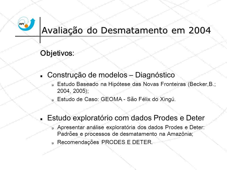 Incremento PRODES 2002-2003 0 - 04% 04 - 08% 08 - 12% 12 - 15% 15 - 19% Taxa anual de desflorestamento INPE, 2005 Incremento 2002-03