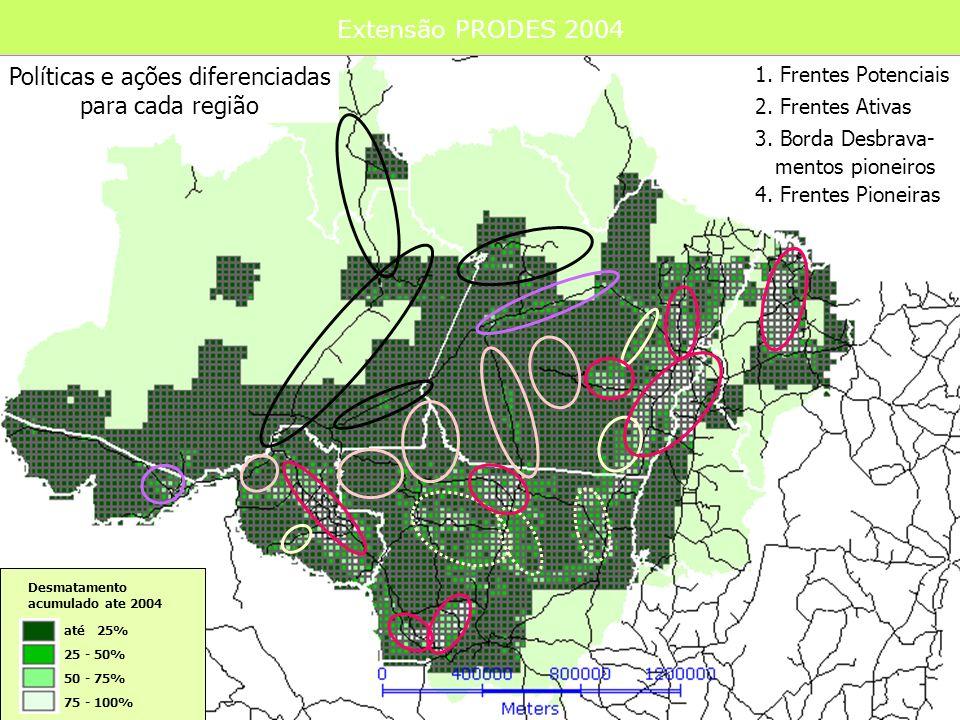 Extensão PRODES 2004 até 25% 25 - 50% 50 - 75% 75 - 100% Desmatamento acumulado ate 2004 2. Frentes Ativas Políticas e ações diferenciadas para cada r