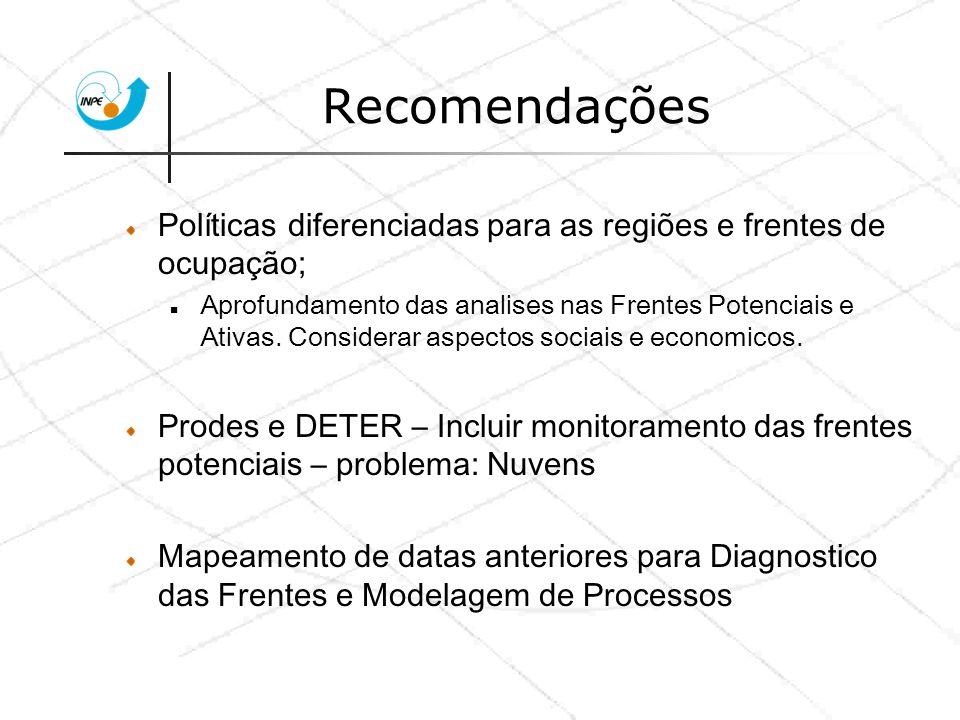 Recomendações Políticas diferenciadas para as regiões e frentes de ocupação; Aprofundamento das analises nas Frentes Potenciais e Ativas. Considerar a