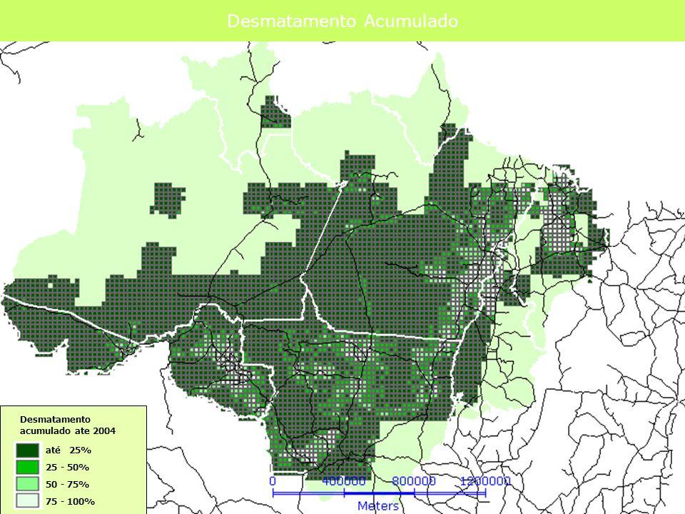 O Papel das Redes no Desenho do Território Prodes 2003 + Deter 02-04 Somente estradas explicam o padrão de desmatamento.