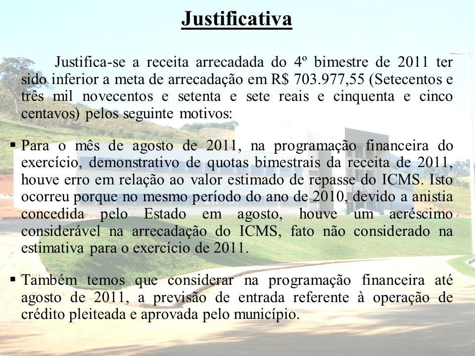 Justificativa Justifica-se a receita arrecadada do 4º bimestre de 2011 ter sido inferior a meta de arrecadação em R$ 703.977,55 (Setecentos e três mil