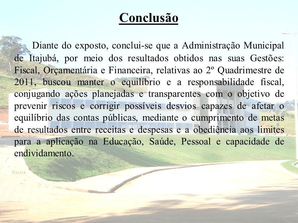 Conclusão Diante do exposto, conclui-se que a Administração Municipal de Itajubá, por meio dos resultados obtidos nas suas Gestões: Fiscal, Orçamentár