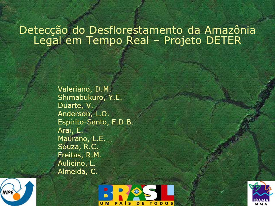 DETER: Metodologia Referência: desmatamento levantado pelo PRODES do ano anterior Detecção mensal de mudança em áreas florestadas sem cobertura de nuvens Disseminação rápida de resultados: site internet