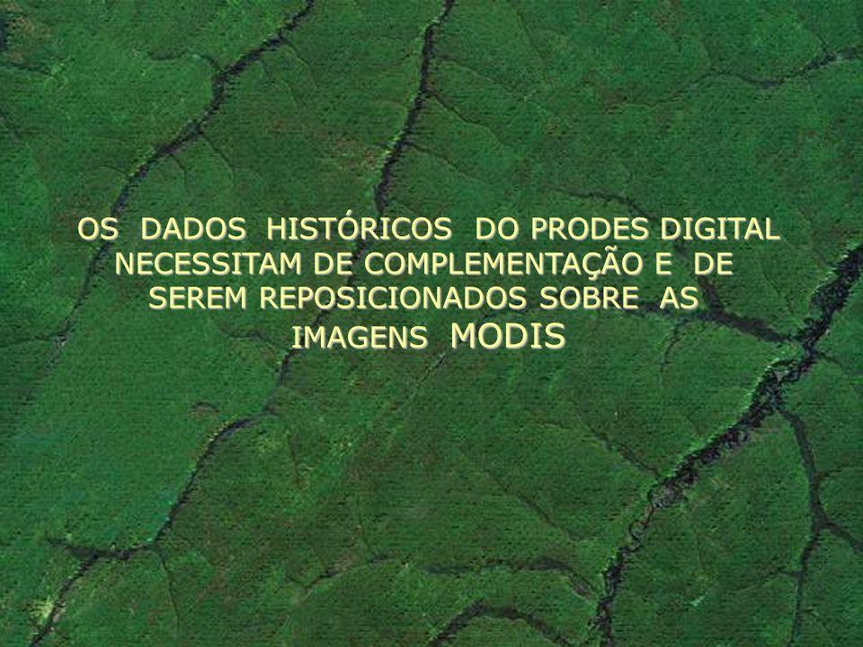 OS DADOS HISTÓRICOS DO PRODES DIGITAL NECESSITAM DE COMPLEMENTAÇÃO E DE SEREM REPOSICIONADOS SOBRE AS IMAGENS MODIS