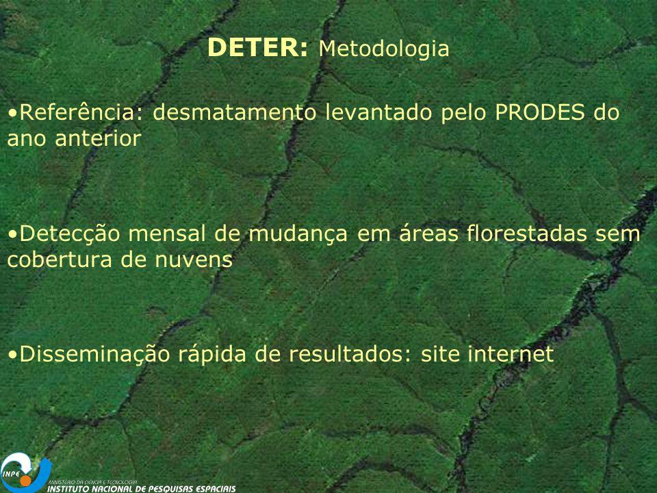 DETER – Sensores TERRA e AQUA MODIS - Moderate-resolution Imaging Spectroradiometer 36 bandas Resolução temporal: 3 dias Resolução espacial: 250 m CBERS - China-Brazil Earth Resources Satellite Sensor WFI 2 bandas 260 m de resolução Repetitividade: 5 dias