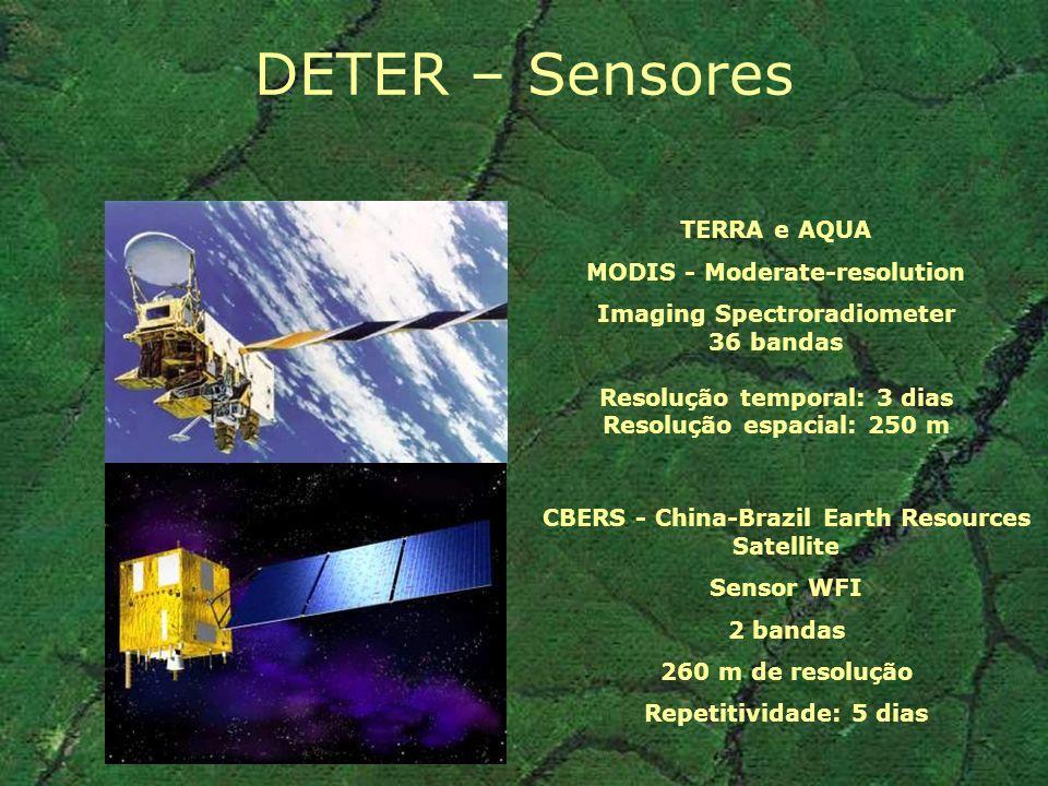DETER: Estudo de viabilidade: Comparação da aplicação da metodologia do PRODES (*) em dados MODIS (*) Transformação dos dados por algoritmo de mistura espectral, segmentação e classificação por campos e edição de ambigüidades (Requer reamostragem da imagem do Infravermelho médio de 500 m para 250 m) –8 cenas Landsat seqüenciais em 2002 –8 cenas Terra/MODIS (Anderson, 2003)
