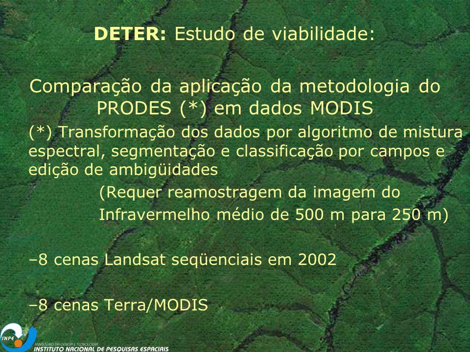 DETER: Estudo de viabilidade: Comparação da aplicação da metodologia do PRODES (*) em dados MODIS (*) Transformação dos dados por algoritmo de mistura