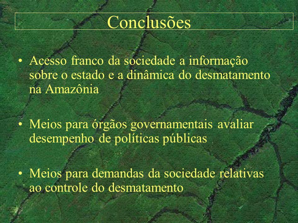 Conclusões Acesso franco da sociedade a informação sobre o estado e a dinâmica do desmatamento na Amazônia Meios para órgãos governamentais avaliar de