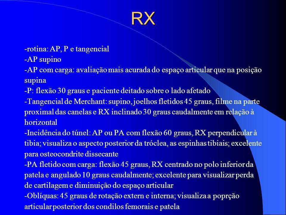 RX -rotina: AP, P e tangencial -AP supino -AP com carga: avaliação mais acurada do espaço articular que na posição supina -P: flexão 30 graus e pacien