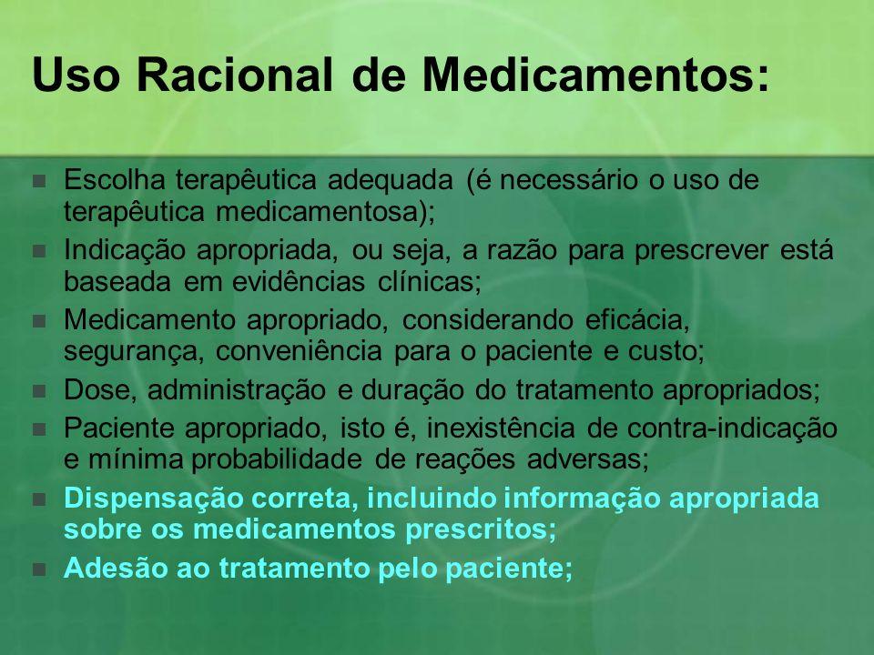 Uso Racional de Medicamentos: Escolha terapêutica adequada (é necessário o uso de terapêutica medicamentosa); Indicação apropriada, ou seja, a razão p