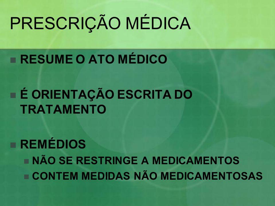 PRESCRIÇÃO MÉDICA RESUME O ATO MÉDICO É ORIENTAÇÃO ESCRITA DO TRATAMENTO REMÉDIOS NÃO SE RESTRINGE A MEDICAMENTOS CONTEM MEDIDAS NÃO MEDICAMENTOSAS
