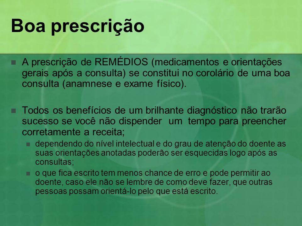 Boa prescrição A prescrição de REMÉDIOS (medicamentos e orientações gerais após a consulta) se constitui no corolário de uma boa consulta (anamnese e
