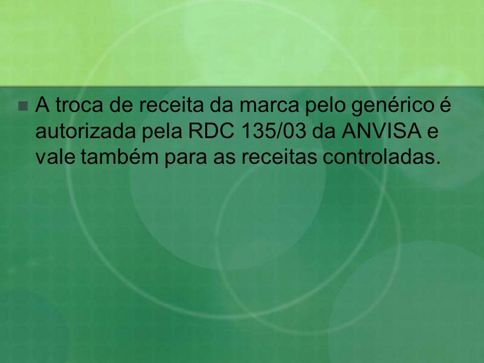 A troca de receita da marca pelo genérico é autorizada pela RDC 135/03 da ANVISA e vale também para as receitas controladas.