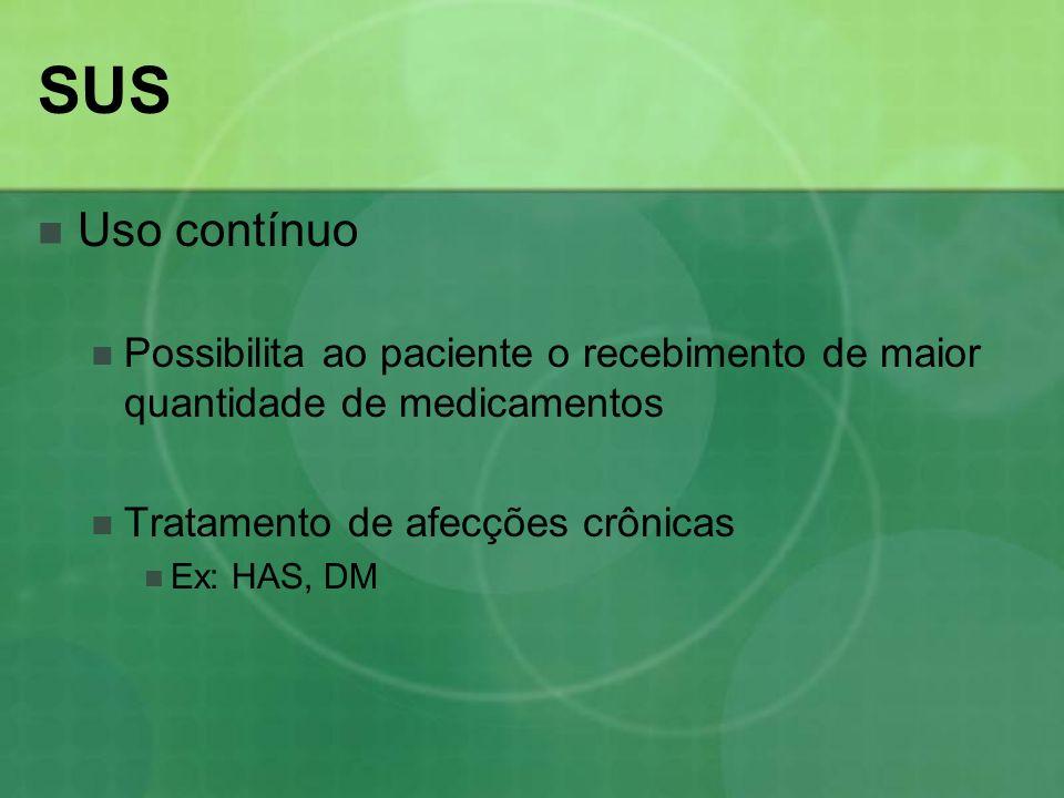 SUS Uso contínuo Possibilita ao paciente o recebimento de maior quantidade de medicamentos Tratamento de afecções crônicas Ex: HAS, DM