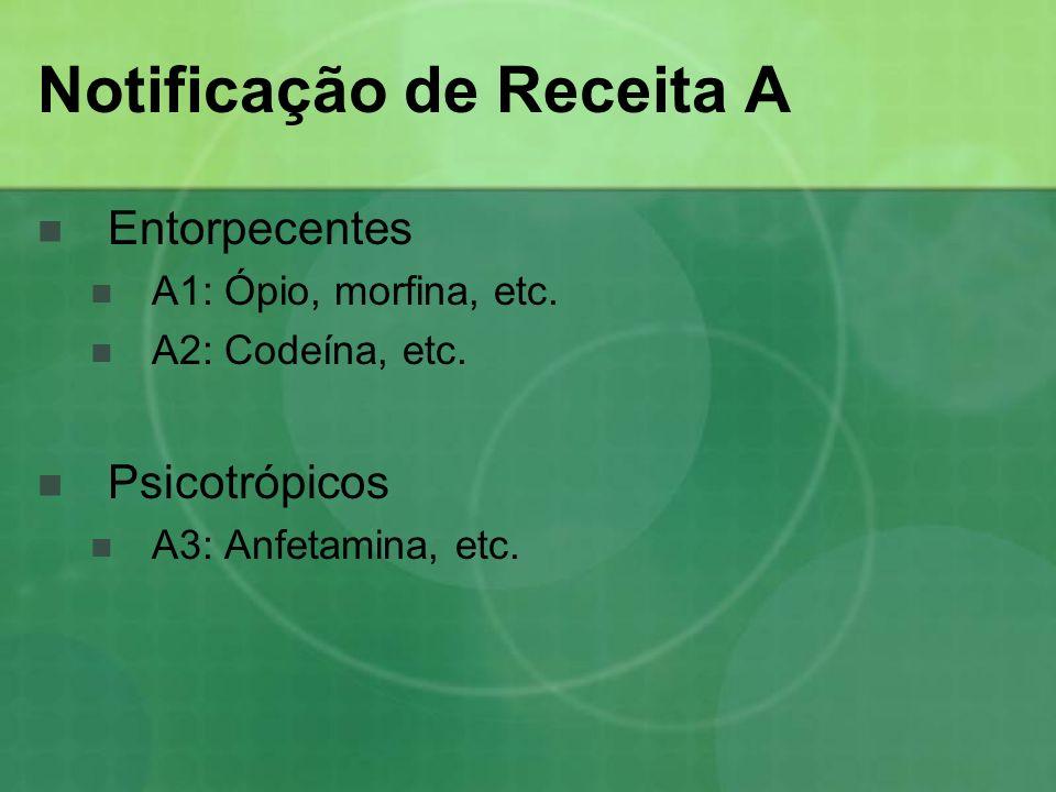 Notificação de Receita A Entorpecentes A1: Ópio, morfina, etc. A2: Codeína, etc. Psicotrópicos A3: Anfetamina, etc.