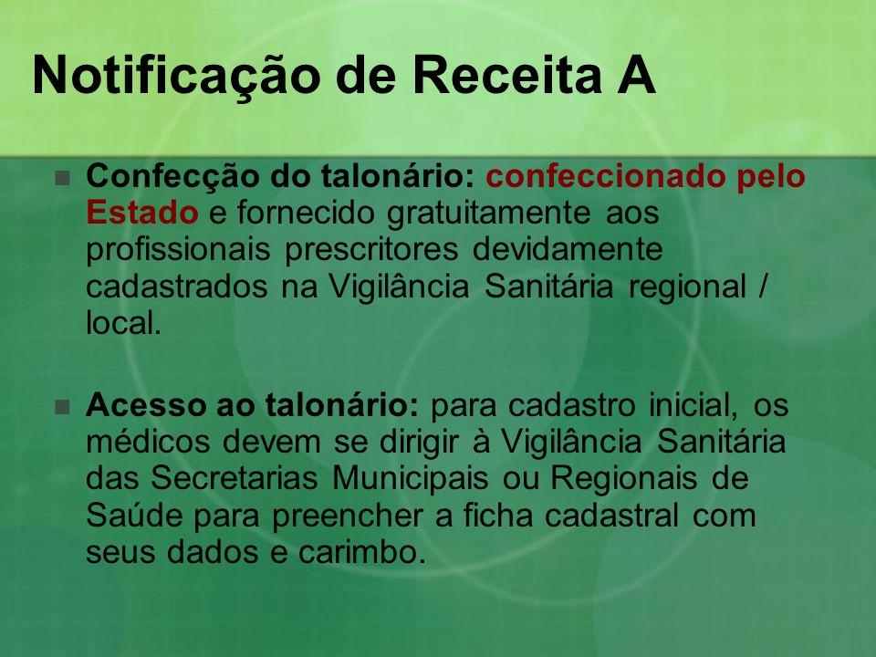 Confecção do talonário: confeccionado pelo Estado e fornecido gratuitamente aos profissionais prescritores devidamente cadastrados na Vigilância Sanit