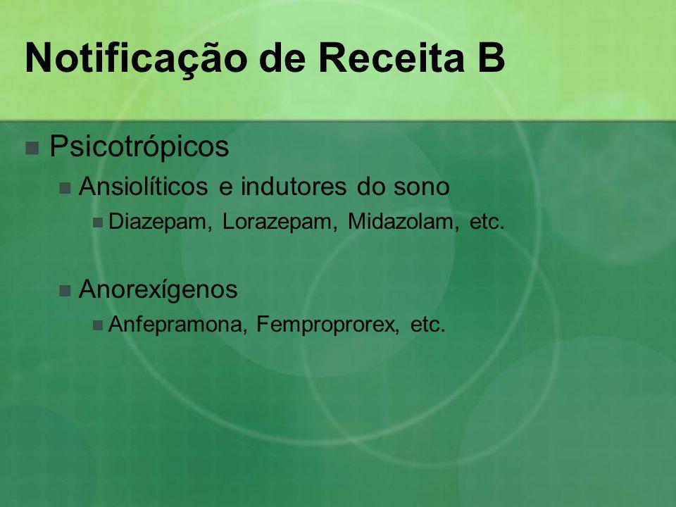 Notificação de Receita B Psicotrópicos Ansiolíticos e indutores do sono Diazepam, Lorazepam, Midazolam, etc. Anorexígenos Anfepramona, Femproprorex, e