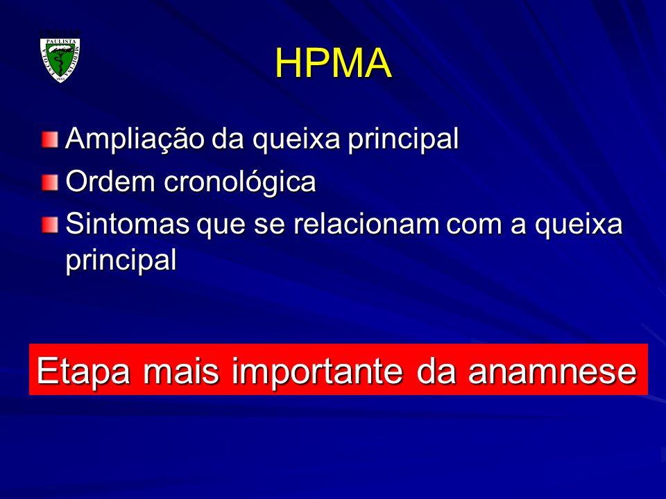 HPMA Ampliação da queixa principal Ordem cronológica Sintomas que se relacionam com a queixa principal Etapa mais importante da anamnese