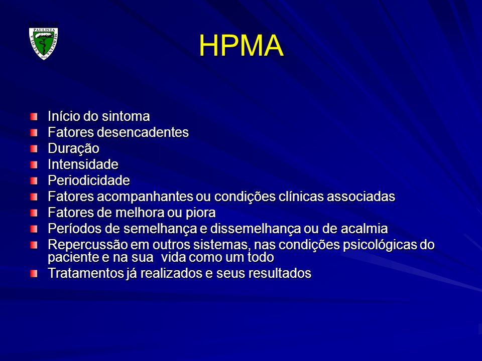 HPMA Início do sintoma Fatores desencadentes DuraçãoIntensidadePeriodicidade Fatores acompanhantes ou condições clínicas associadas Fatores de melhora