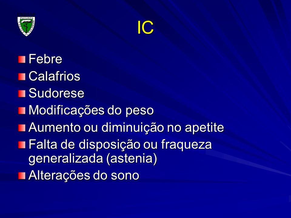 IC FebreCalafriosSudorese Modificações do peso Aumento ou diminuição no apetite Falta de disposição ou fraqueza generalizada (astenia) Alterações do s