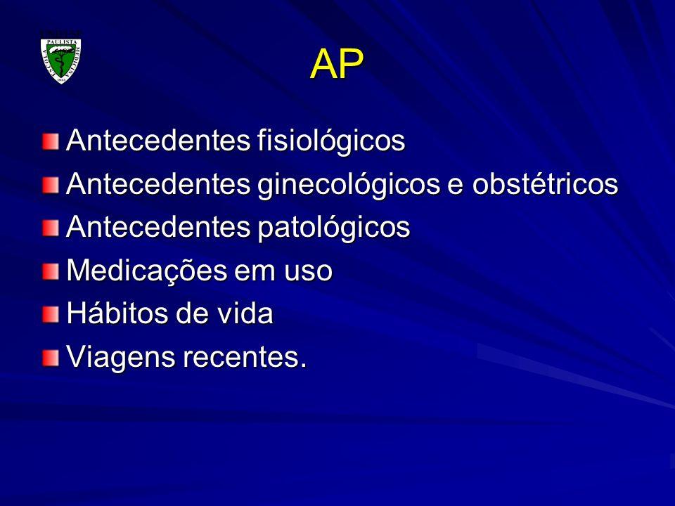 AP Antecedentes fisiológicos Antecedentes ginecológicos e obstétricos Antecedentes patológicos Medicações em uso Hábitos de vida Viagens recentes.