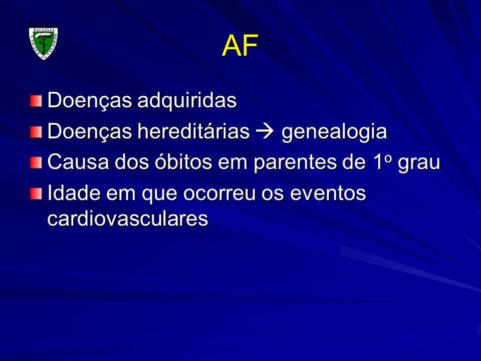 AF Doenças adquiridas Doenças hereditárias genealogia Causa dos óbitos em parentes de 1 o grau Idade em que ocorreu os eventos cardiovasculares