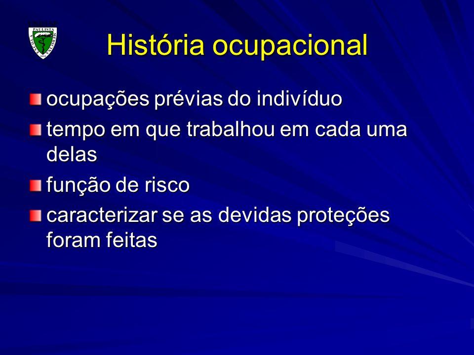 História ocupacional ocupações prévias do indivíduo tempo em que trabalhou em cada uma delas função de risco caracterizar se as devidas proteções fora