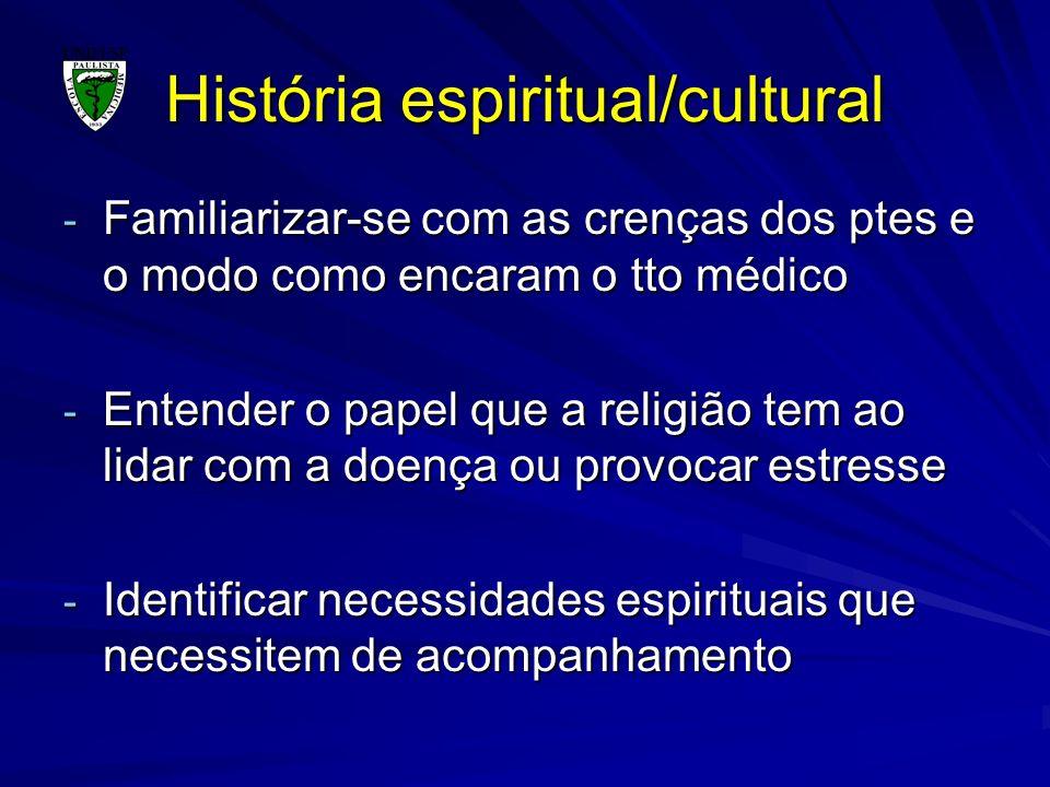 História espiritual/cultural - Familiarizar-se com as crenças dos ptes e o modo como encaram o tto médico - Entender o papel que a religião tem ao lid