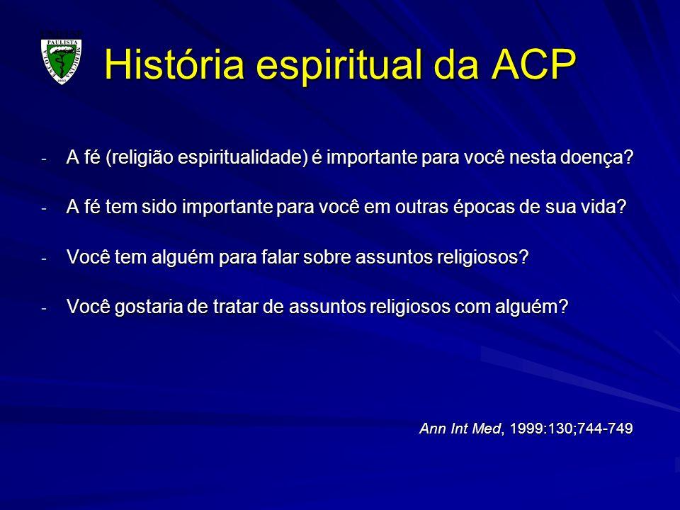 História espiritual da ACP - A fé (religião espiritualidade) é importante para você nesta doença? - A fé tem sido importante para você em outras época