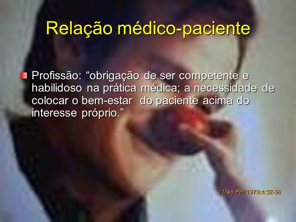 Relação médico-paciente Profissão: obrigação de ser competente e habilidoso na prática médica; a necessidade de colocar o bem-estar do paciente acima