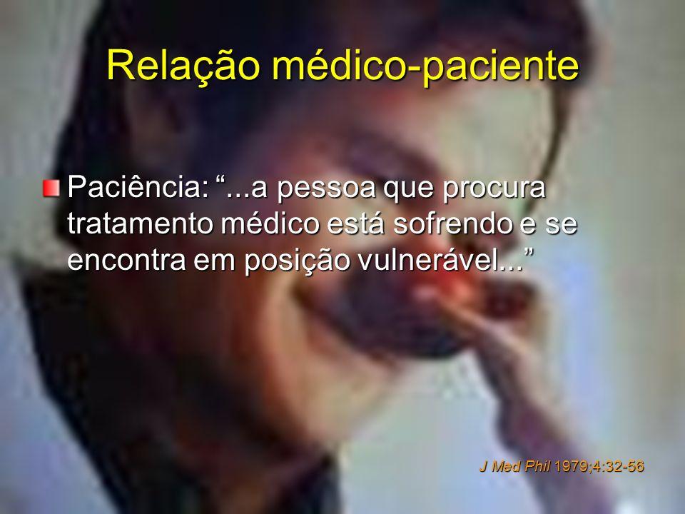 Relação médico-paciente Paciência:...a pessoa que procura tratamento médico está sofrendo e se encontra em posição vulnerável... J Med Phil 1979;4:32-