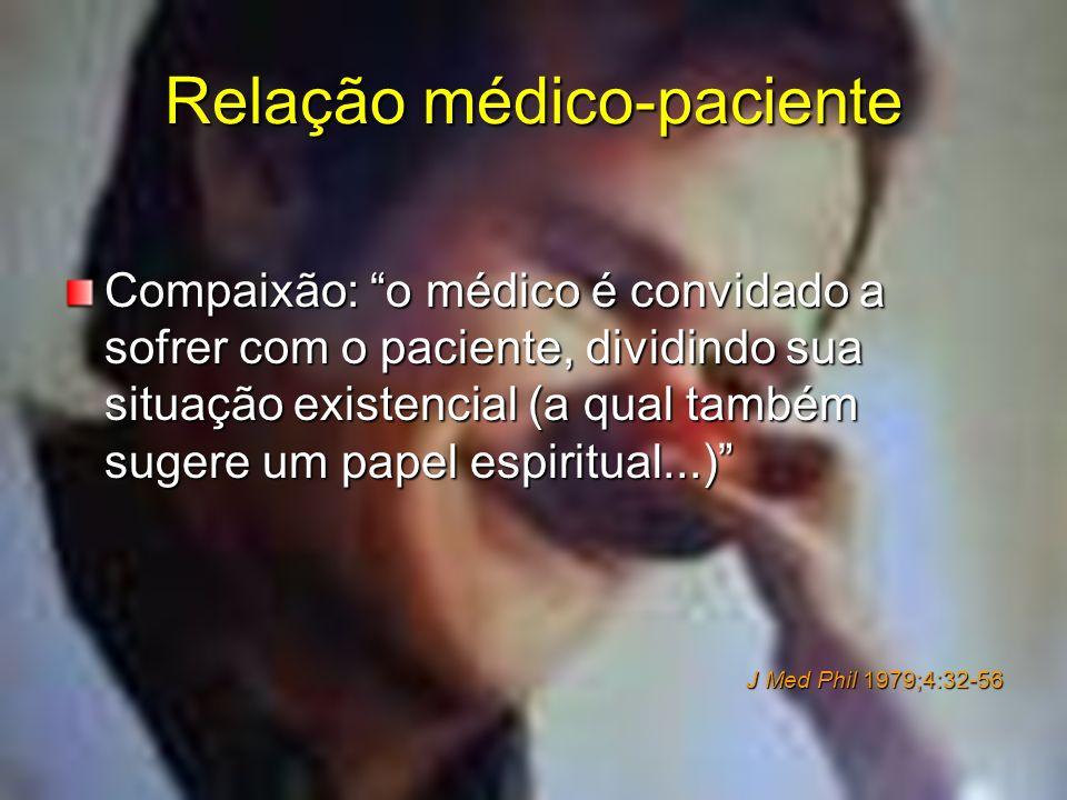 Relação médico-paciente Compaixão: o médico é convidado a sofrer com o paciente, dividindo sua situação existencial (a qual também sugere um papel esp