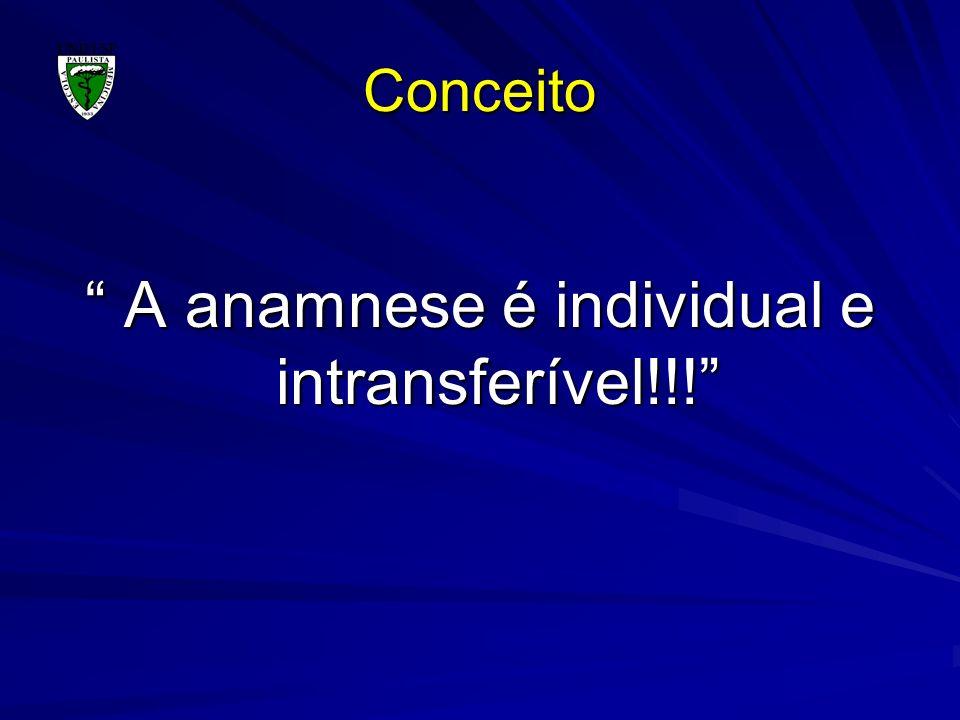 Conceito A anamnese é individual e intransferível!!! A anamnese é individual e intransferível!!!