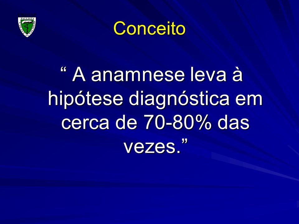 Conceito A anamnese leva à hipótese diagnóstica em cerca de 70-80% das vezes. A anamnese leva à hipótese diagnóstica em cerca de 70-80% das vezes.
