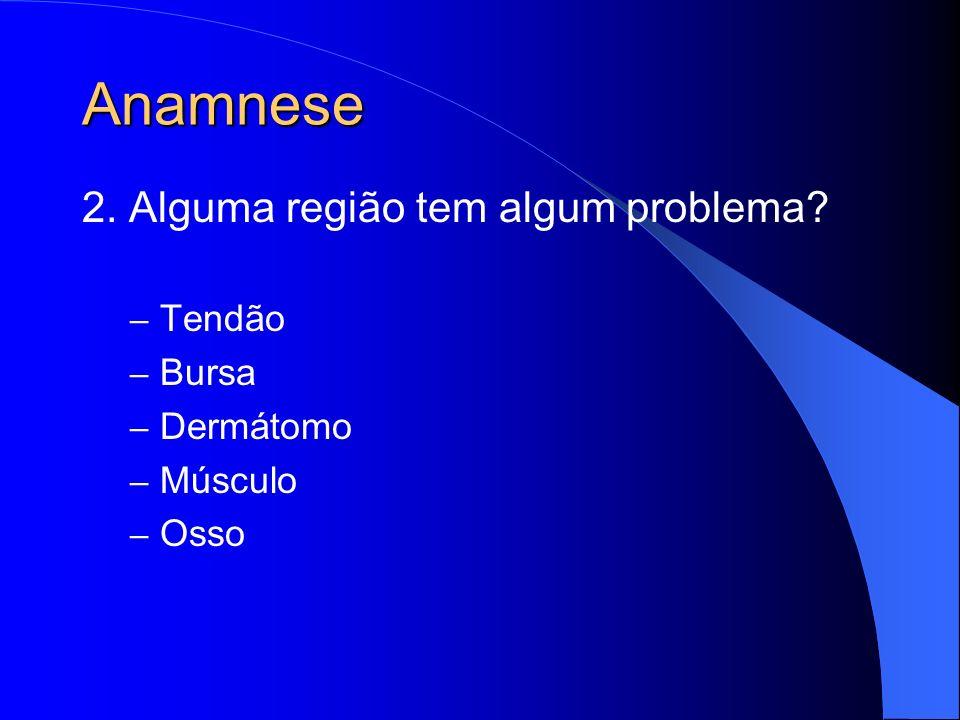 Anamnese 2. Alguma região tem algum problema? – Tendão – Bursa – Dermátomo – Músculo – Osso